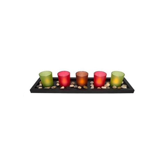 صورة Set of 5 Luminara Battery operated Tea Light Flameless Candles: 5 White, Unscented Flameless Votive Candles with Decorative Black Tray Shape Base. 44*13*7.5 cm