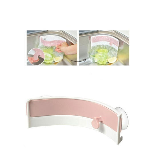 صورة Creative Kitchen Cabinet Door Trash Bag Holder - Strong Sucker Garbage Bag Holder Sink Clip-on Trash Storage Rack