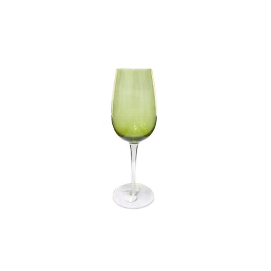 صورة كوب زجاجي مع عنق وقاعدة باللون الأخضر - 25 × 9سم
