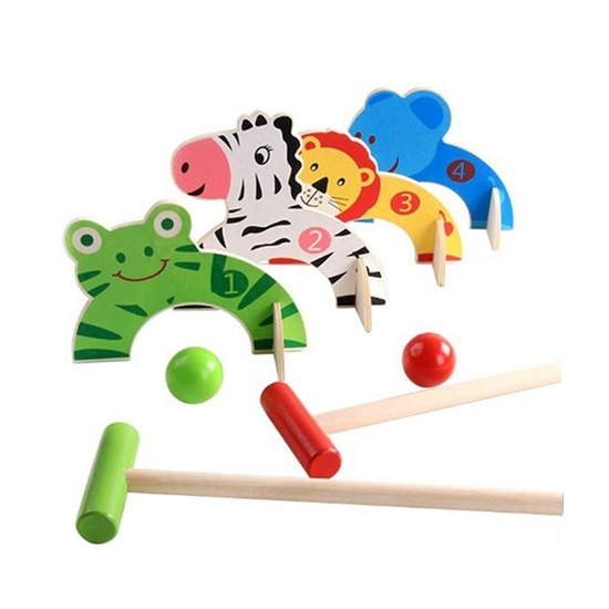 Picture of Wooden Croquet Balls Animal Gate Ball Cartoon Baseball Sports Games Early Educational Toy
