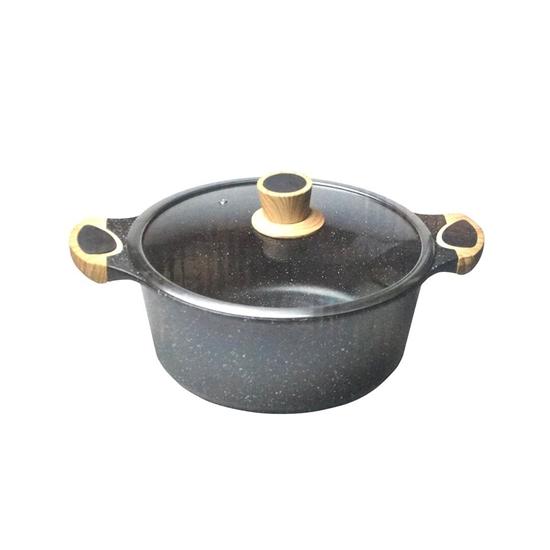 صورة طنجرة ألمنيوم باللون الأسود مع غطاء زجاجي قياس 20 سم