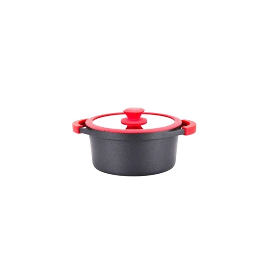 Picture of Black - Aluminium Cooking Pot with Glass Lid - 20 Cm