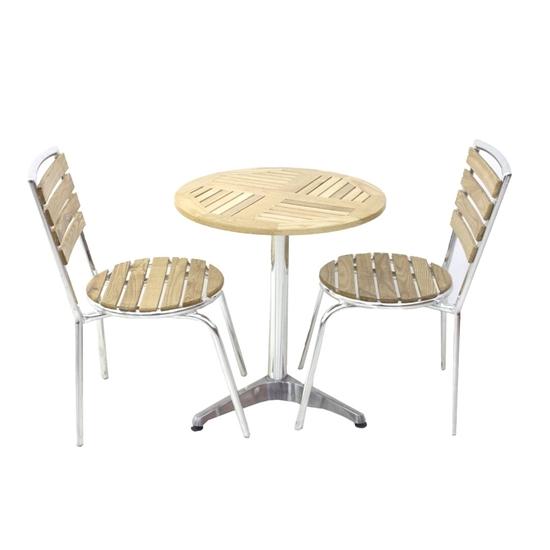 صورة طاولة شاي من الخشب مع 2 كراسي