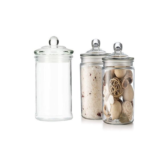 صورة Glass Storage Canister, Clear Jar, With Clear Glass Lid - 15 x 8 Cm