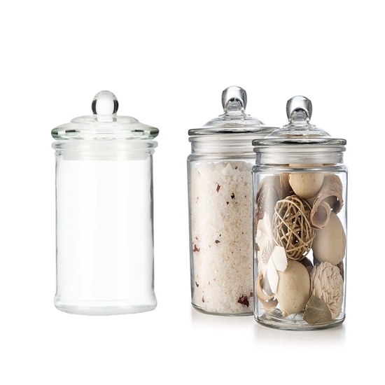 صورة Glass Storage Canister, Clear Jar, With Clear Glass Lid