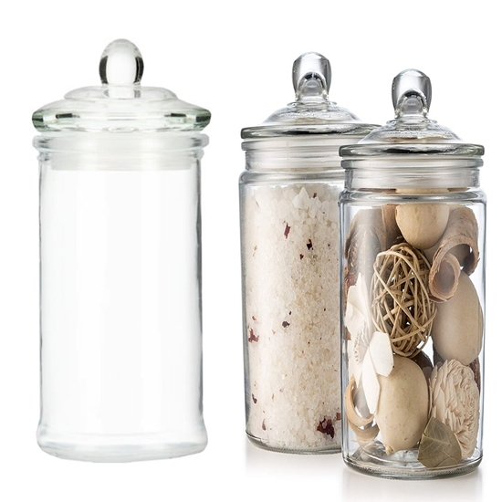 Picture of Glass Storage Canister, Clear Jar, With Clear Glass Lid - 21 x 10 Cm