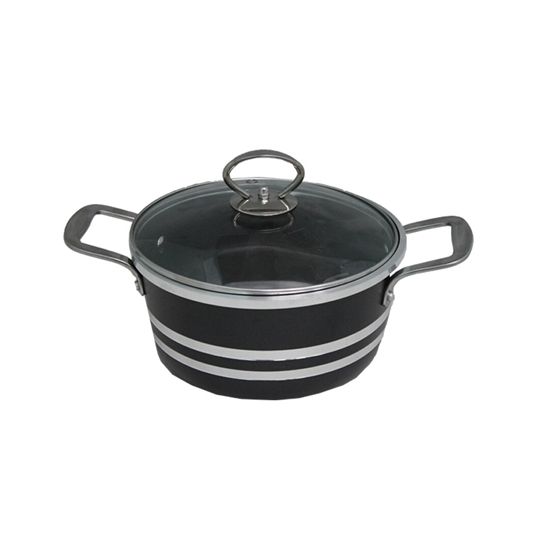 Picture of Black - Aluminum Cooking Pot with Glass Lid - 26 Cm
