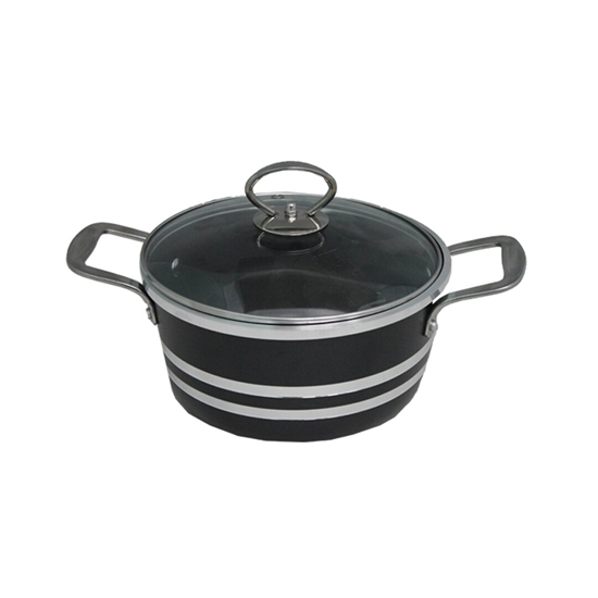 صورة طنجرة ألمنيوم باللون الأسود مع غطاء زجاجي قياس 28 سم