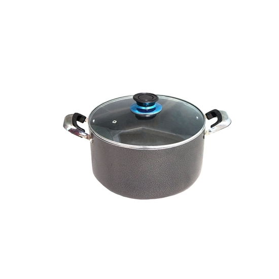 Picture of Grey - Aluminium Cooking Pot with Glass Lid - 26 Cm