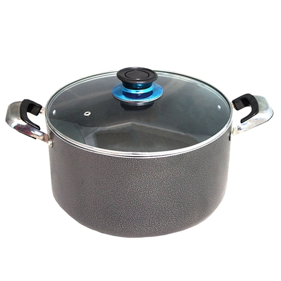 Picture of Grey - Aluminium Cooking Pot with Glass Lid - 30 Cm