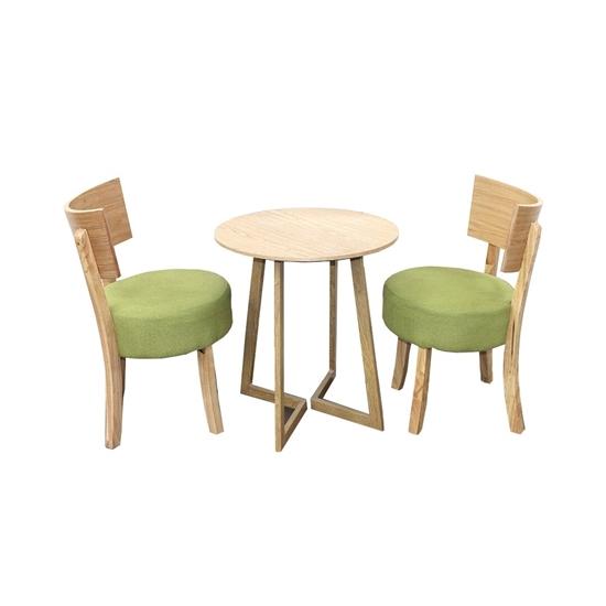 صورة  طاولة شاي من الخشب الصلب مع 2 كراسي من الجلد