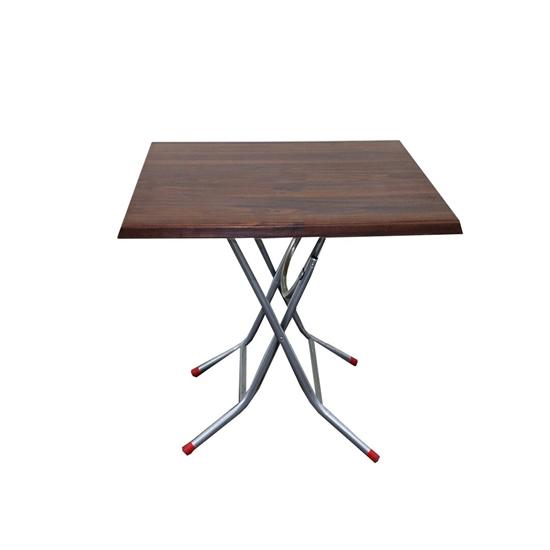 صورة Table Square Folding Table Snack Table Multifunctional Dining Table Office Wood and Metal Table (Size : 80 x 80CM)