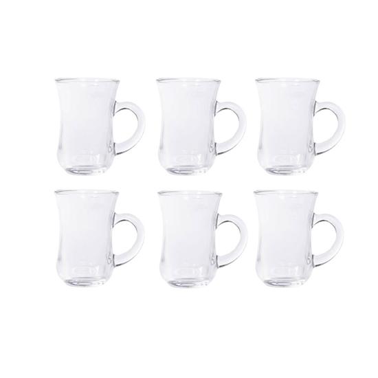Picture of Clear Glass Tea Set 6 PCs -  9 x 6.5 Cm