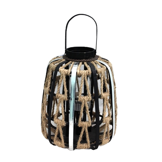 Picture of Black - Wooden & Glass Lantern - 40 x 26 Cm