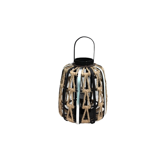 Picture of Black - Wooden & Glass Lantern - 40 x 25 Cm