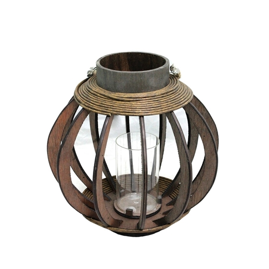 Picture of Black - Wooden & Glass Lantern - 30 x 26 Cm