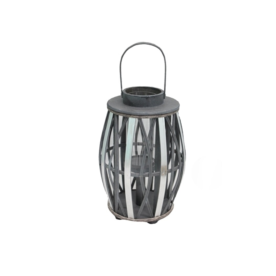 Picture of Black - Wooden & Glass Lantern - 33 x 21 Cm