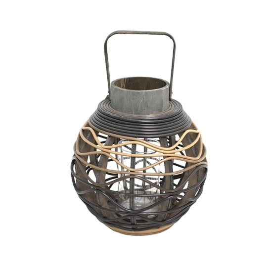 Picture of Black - Wooden & Glass Lantern - 30 x 19 Cm