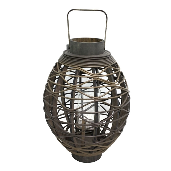 Picture of Black - Wooden & Glass Lantern - 43 x 23 Cm