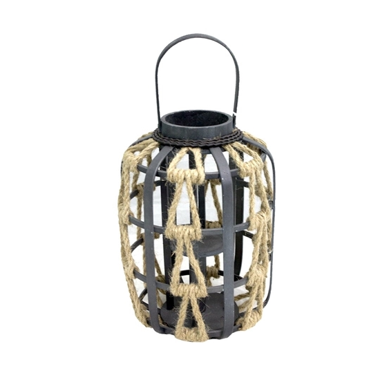 Picture of Black - Wooden & Glass Lantern - 33 x 23 Cm