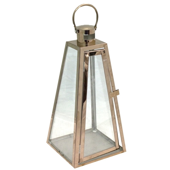 Picture of Bronze - Metal & Glass Lantern - 28 x 72 Cm