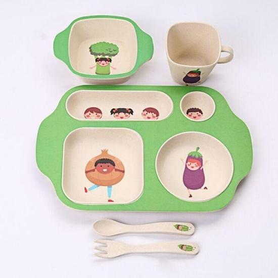 صورة BAMBOO KIDS Meal Set | Plate Set | Toddler Dinner Set | Eco-Friendly Bamboo Dishes | Food-Safe Feeding Set for Toddlers and Little Kids | Boys and Girls