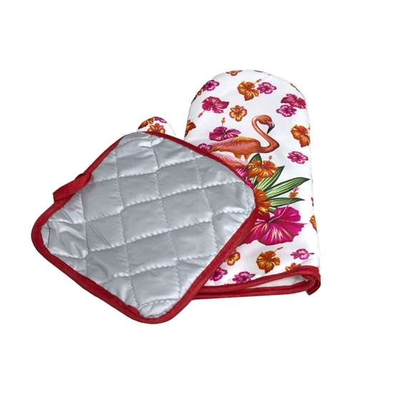 Picture of Oven Mitts and Pot Holders Set with Polyester Non-Slip Grip, Heat Resistant, Oven Gloves for BBQ Cooking Baking, Grilling
