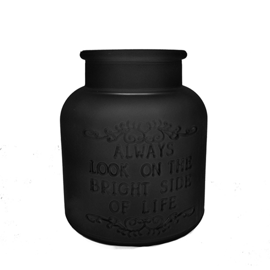 Picture of Black - Frosted Glass Vase - 8 x 4 Cm