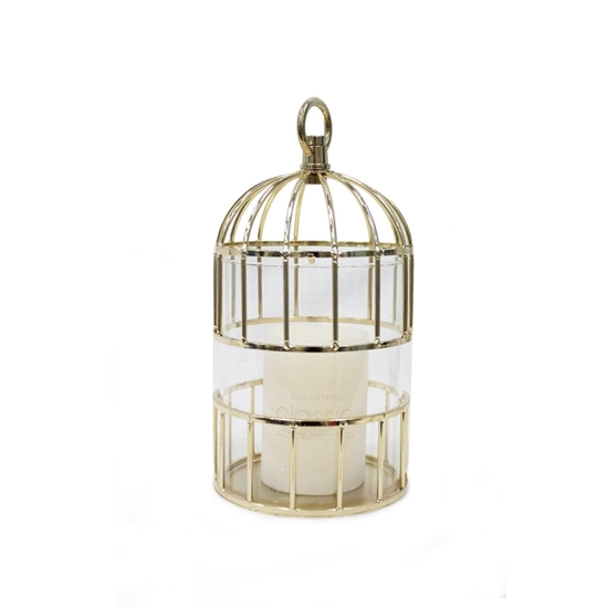 Picture of Gold Cage Candle Holder - H: 25 Cm