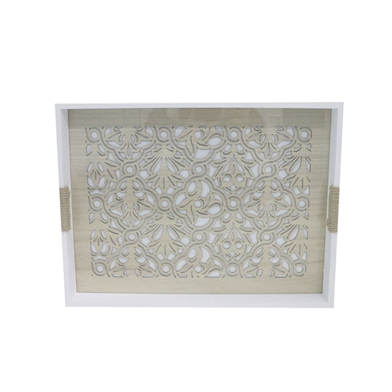 Picture of Wooden Serving Tray with Glass Insert - 30 x 40 x 4.5 Cm
