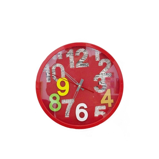 Picture of Red Circle Wall Clock - 30 Cm