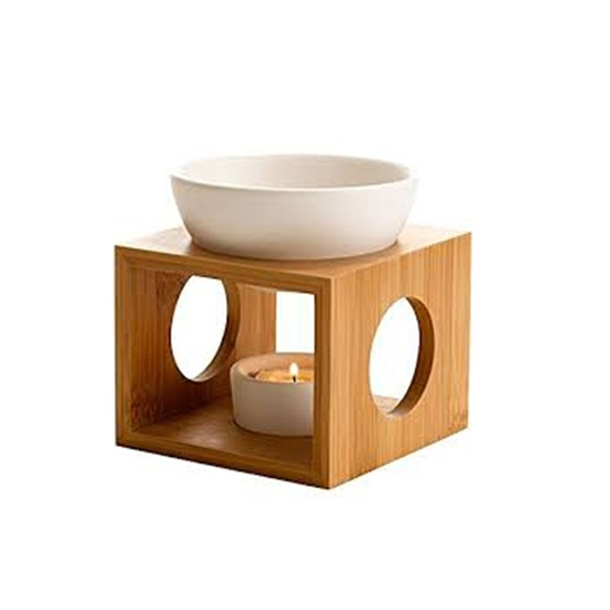 Picture of Ceramic Tea Light Holder,Essential Oil Burner Candle Diffuser For Spa Yoga Meditation (wood)
