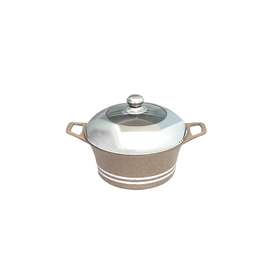 Picture of Beige - Aluminum Cooking Pot with Glass Lid - 20 Cm