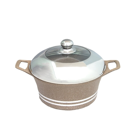 Picture of Beige - Aluminum Cooking Pot with Glass Lid - 24 Cm