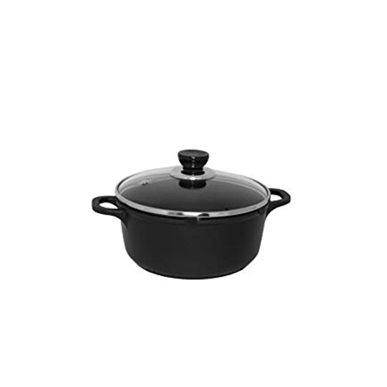 Picture of Black - Aluminium Cooking Pot with Glass Lid - 30 Cm