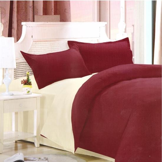صورة King - Cotton & Polyester Double Face - Red & Beige - Fitted Sheet, Duvet, Pillowcases