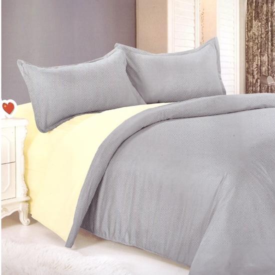 صورة King - Cotton & Polyester Double Face - Beige & Grey - Fitted Sheet, Duvet, Pillowcases