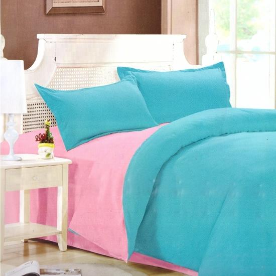 صورة King - Cotton & Polyester Double Face - Turquoise & Pink- Fitted Sheet, Duvet, Pillowcases