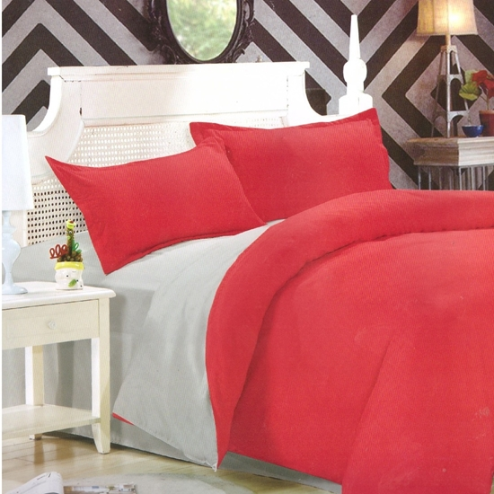 صورة Queen - Cotton & Polyester Double Face - Red & Grey - Fitted Sheet, Duvet, Pillowcases