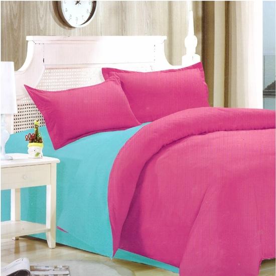 صورة Queen - Cotton & Polyester Double Face - Blue & Fuchsia - Fitted Sheet, Duvet, Pillowcases