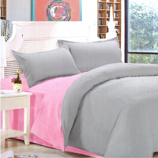 صورة Queen - Cotton & Polyester Double Face - Pink & Grey - Fitted Sheet, Duvet, Pillowcases