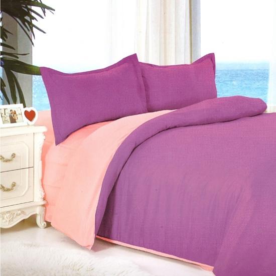 صورة Queen - Cotton & Polyester Double Face - Pink & Purple - Fitted Sheet, Duvet, Pillowcases