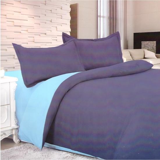 صورة King - Cotton & Polyester Double Face - Blue & Purple - Fitted Sheet, Duvet, Pillowcases