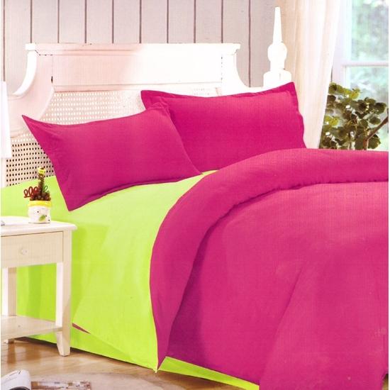 صورة King - Cotton & Polyester Double Face - Red Rose & Green - Fitted Sheet, Duvet, Pillowcases
