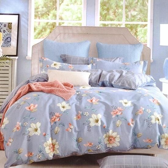 صورة Queen - 4 Pieces Sheet Set - Cotton & Polyester Sheets - Fitted Sheet, Duvet, Pillowcases
