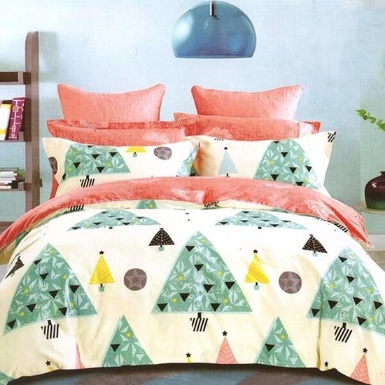 صورة Queen - 4 Pieces Sheet Set - Cotton & Polyester Sheets - Fitted Sheet, Duvet, Pillow Cases
