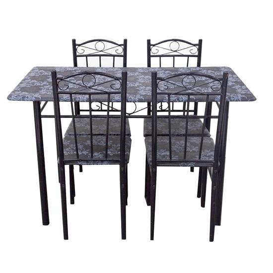 صورة Dining Set Metal Table and 4 Chairs - Table: 70W x 120L x 76H Cm // Chair: 37W x 38D x 90H Cm