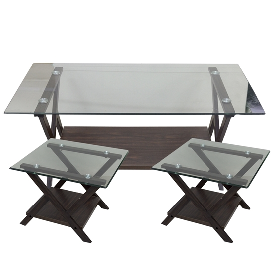 Picture of BROWN COLOR- GLASS TOP- COFFEE TABLE- WITH 2 SIDE TABLES Large Table: W: 110 / D: 60 / H: 45 cm //  Side Table: W: 60 / D: 60 / H: 45 cm