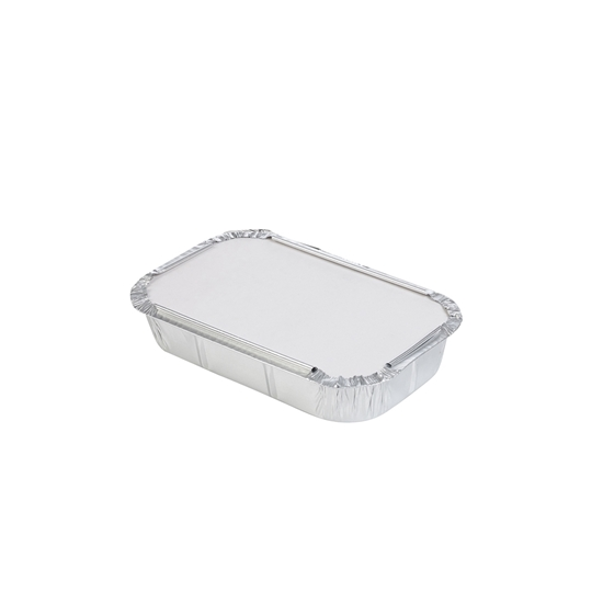 صورة ALUMINIUM DISPOSABLE CONTAINER WITH LID 21x14.5x4.2cm