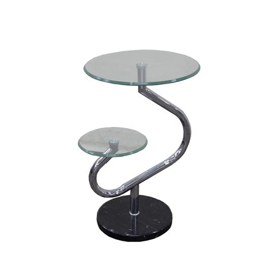 صورة Portable Glass Side Table Living Room Sofa Side Snack End Tables on Casters Wheels, Black & Silver